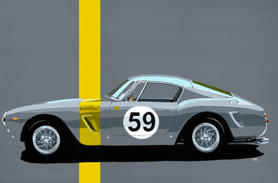 Acrylic on canvas painting ferrari 250 SWB ecurie francorchamps