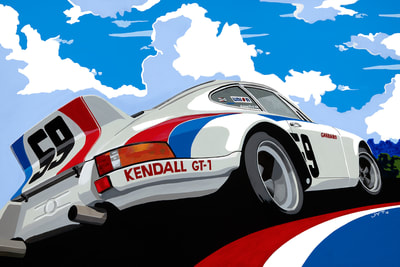 Original art, limited edition giclee print Porsche 911 RSR 1973 Daytona 24h, Team Brumes racing
