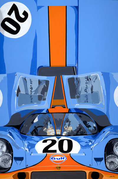Original art, Acrylic on Canvas painting Porsche 917K, Gulf Racing, LeMans movie Steve McQueen
