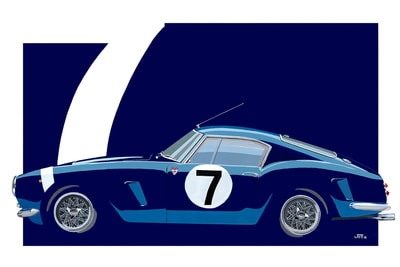 Original art, Limited edition Print Ferrari 250 SWB