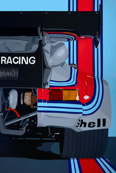 Original art, limited edition giclee print Porsche 911 RSR turbo 1974 Daytona LeMans 24h, Team Martini racing